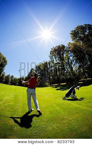 Young White Male Golfer Red Shirt