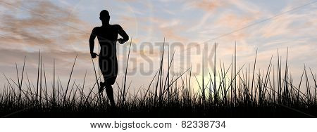Concept or conceptual human male or young man black silhouette running happy in summer grass over sky at sunset or sunrise background, metaphor to training, healthy, jogging, fit, lifestyle or workout