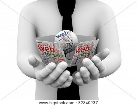 3D Businessman Holding Web Design Wordcloud