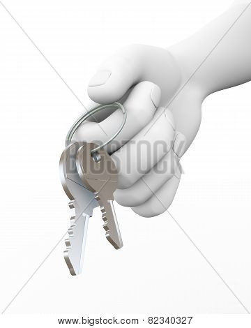 3D Human Hand Giving Keys Illustration