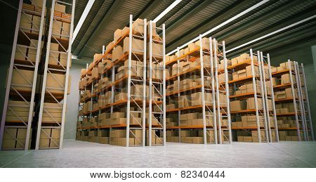 3D rendering of a distribution warehouse