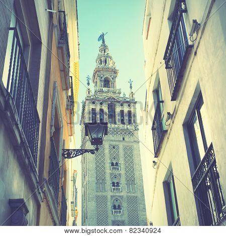 Street in Sevilla, Spain. Instagram style filtred image