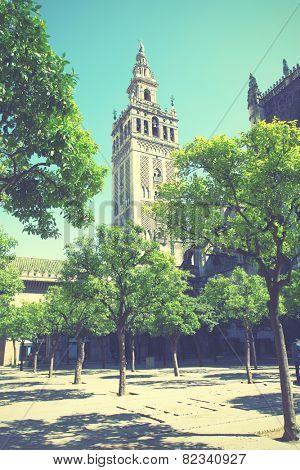 Giralda bell tower in Seville, Spain. Instagram style filtred image