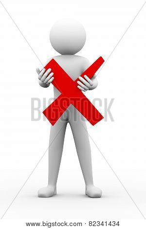 3D Man Holding wrong sign Illustration