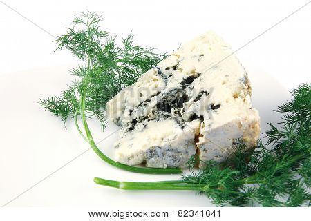 soft moldy blue cheese on white cheese