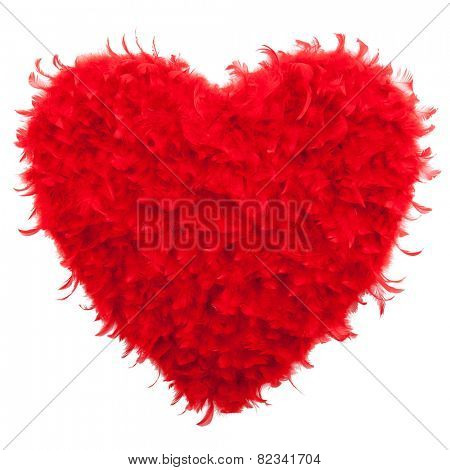 Valentines Heart shaped made of Red feathers on white background. Love concept