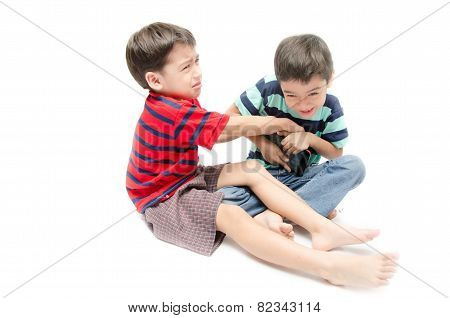 Two Happy Boys Wrestling Game Tablet In The Kids Room