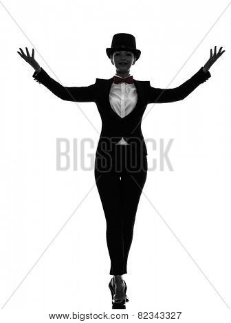 one  woman master of ceremonies presenter in silhouette on white background