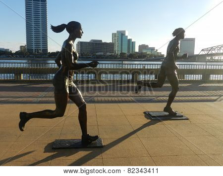 Statue of runners in Downtown
