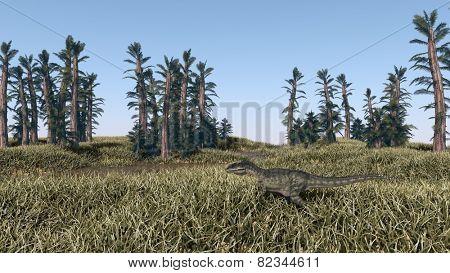 prehistoric landscape with mamenchisaurus dinosaur