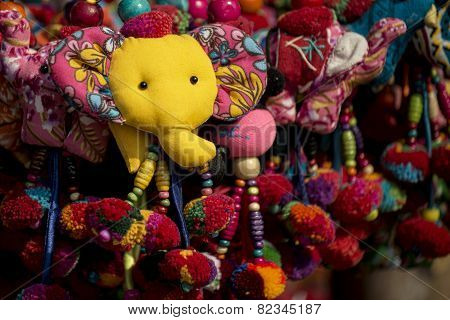 key chains of animals handmade in hill tribe souvenir shop ,Thailand