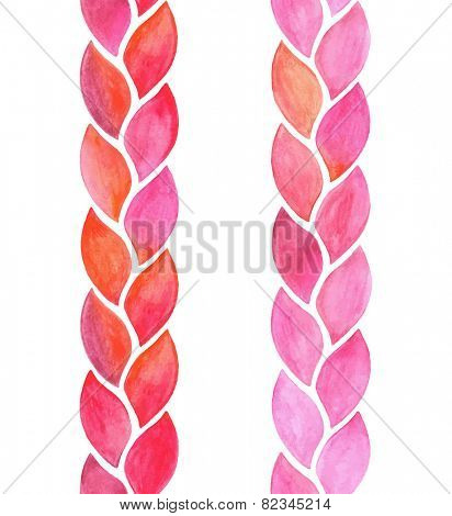 Watercolor seamless vertical braid, vector illustration.