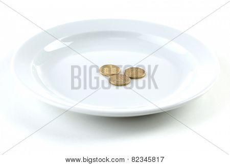 Coins on plate isolated on white