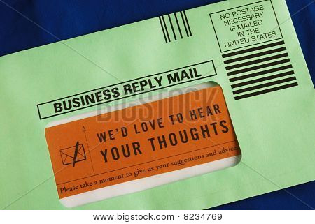 Send the customer survey in the business reply envelop