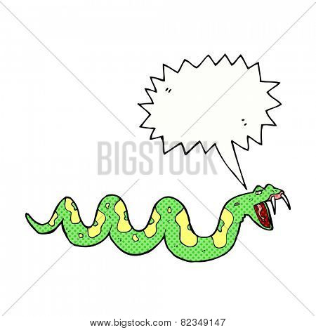 cartoon poisonous snake with speech bubble