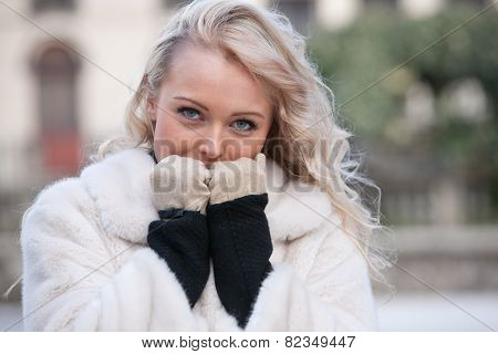 Intense Look Of A Woman In Winter