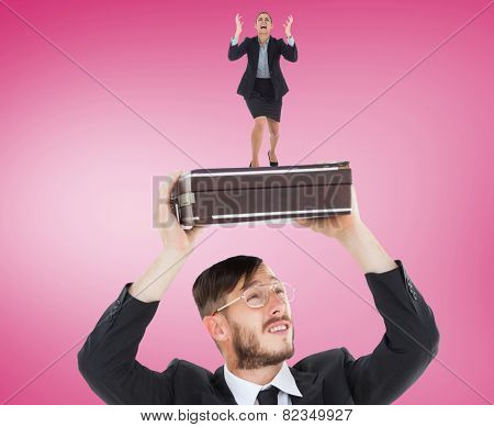 Angry businesswoman gesturing against pink vignette