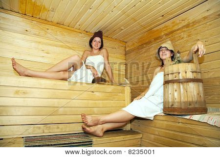 Young Girls  At Sauna