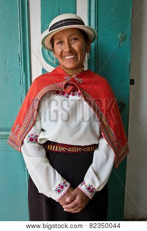 Portrait of beautiful indigenous woman from Guaranda Ecuador wearing traditional clothing