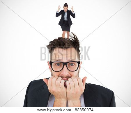 Geeky nervous businessman looking at camera against white background with vignette