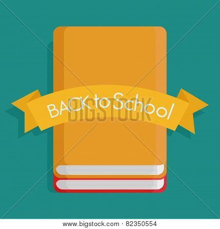 a pair of notebooks and a ribbon with text on a colored background
