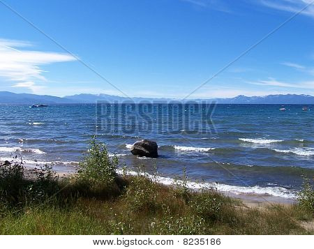 Waves on the shore of Lake Tahoe