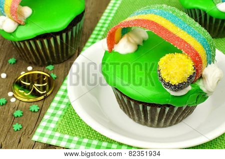 Rainbow pot of gold St Patricks Day cupcake