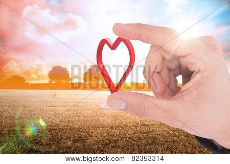 Businessman measuring something with his fingers against countryside scene