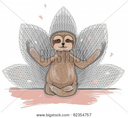Cute Sloth Meditation. Yoga Lotus Asana.