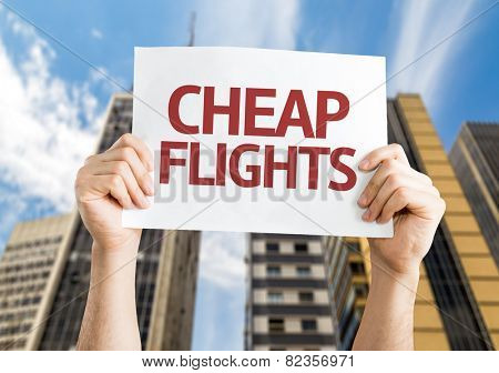 Cheap Flights card with a urban background