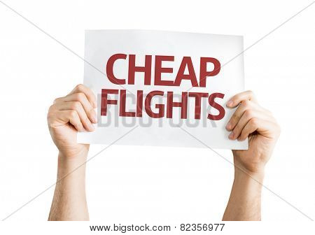 Cheap Flights card isolated on white background