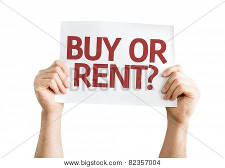 Buy or Rent? card isolated on white background