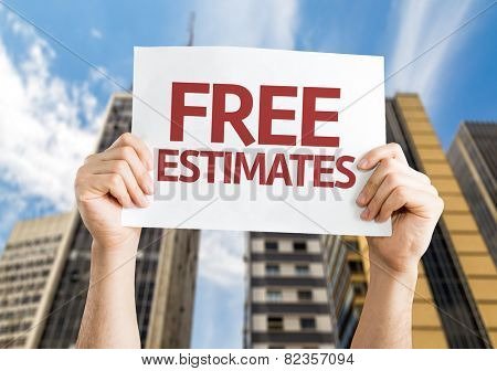 Free Estimates card with a urban background