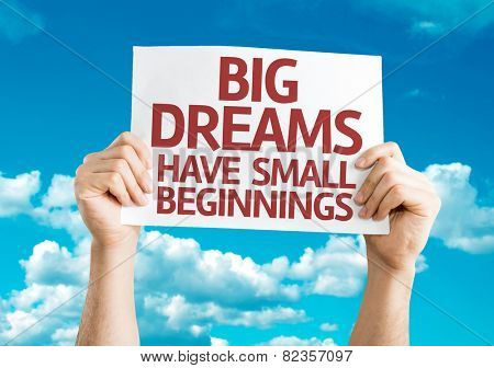 Big Dreams Have Small Beginnings card with sky background