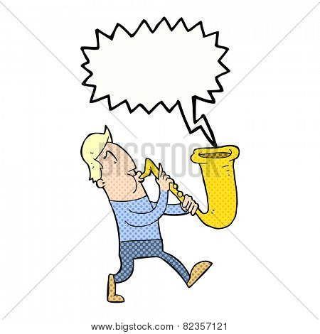 cartoon man blowing saxophone with speech bubble