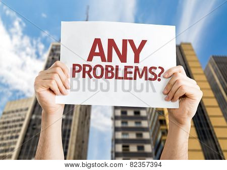 Any Problems? card with a urban background