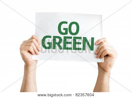 Go Green card isolated on white background
