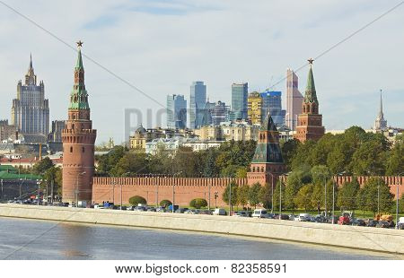 Moscow, Kremlin And Modern Buildings