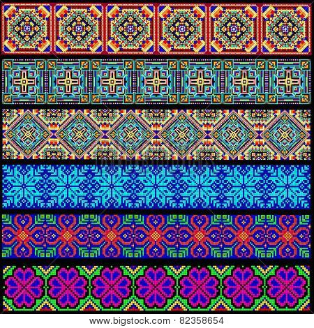 Set Of Ornamental Braid Strips Of Colored Geometric Ornament
