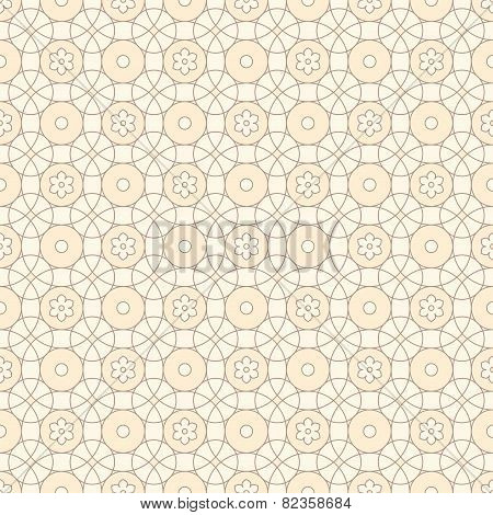 Linear Seamless Pattern With Circle And Flowers.