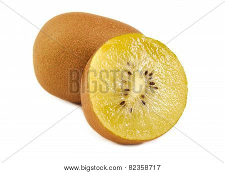 View of one and a half gold kiwi. Yellow kiwi isolated on a white background