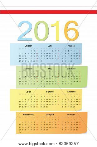 Polish 2016 Vector Color Calendar.