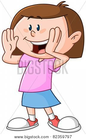 Young girl calling someone circling her hands around her mouth