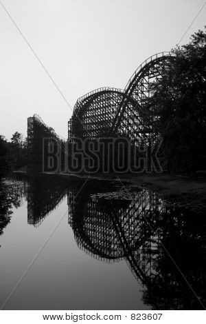 Wooden rollercoaster reflection vertical