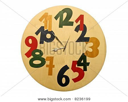 Wooden Clock With Color Numbers Isolated. time passing concept.