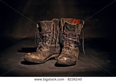 Old Worn Soldiers Work Boots