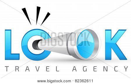 Logo template, spyglass vector logo