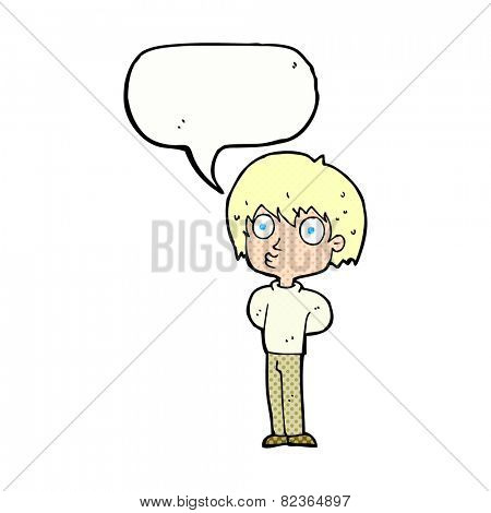 cartoon impressed boy with speech bubble