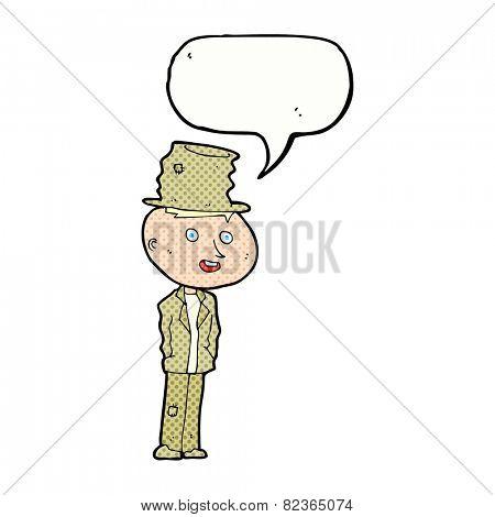 cartoon funny hobo man with speech bubble