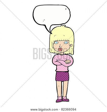 cartoon impatient woman with speech bubble